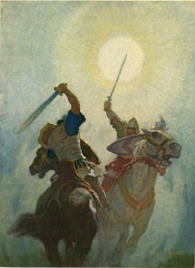 knights fighting on horseback