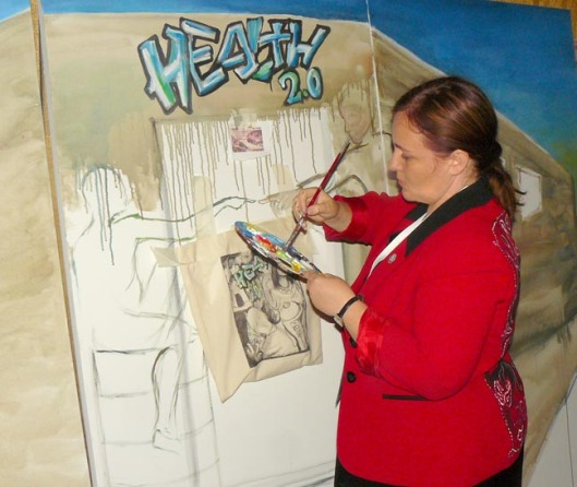 Regina Holiday, paints at Healthcare 2.0