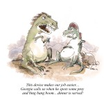 two dinosaurs talk about food