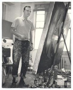 Robert Motherwell in his studio
