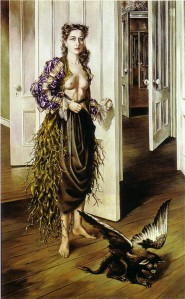 """""""Birthday"""" painting by surrealist Dorothea Tanning"""