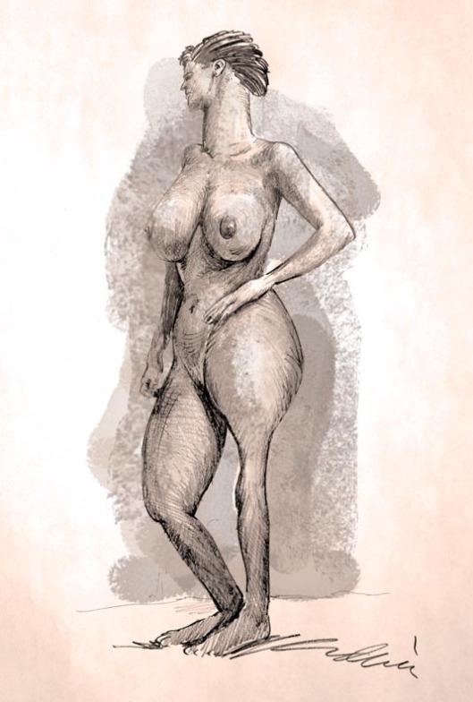 strange nude sketch by Lon Levin