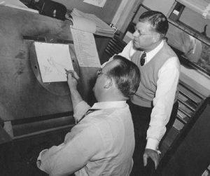 Tex Avery at his drafting table