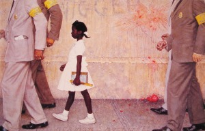 Painting by Norman Rockwell depicting young african american girl in the 60's