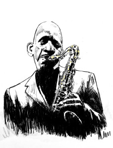 sketch by Lon Levin of Sonny Rollins